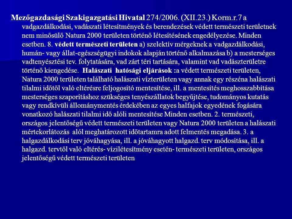 Mezőgazdasági Szakigazgatási Hivatal 274/2006.
