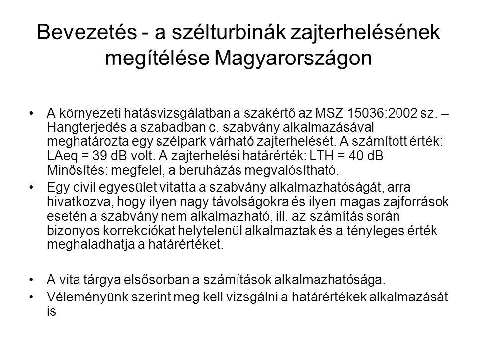 Bevezetés - a szélturbinák zajterhelésének megítélése Magyarországon A környezeti hatásvizsgálatban a szakértő az MSZ 15036:2002 sz.