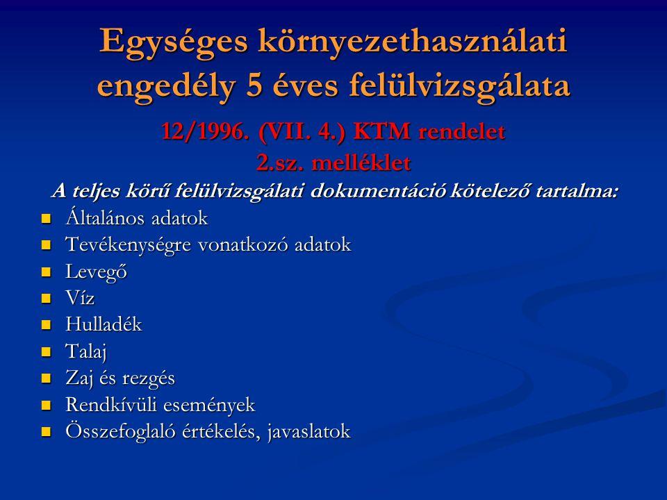 Egységes környezethasználati engedély 5 éves felülvizsgálata 12/1996. (VII. 4.) KTM rendelet 2.sz. melléklet A teljes körű felülvizsgálati dokumentáci