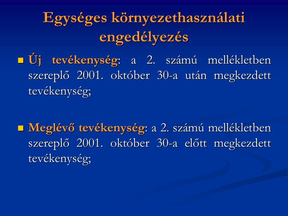 Egységes környezethasználati engedélyezés Új tevékenység: a 2. számú mellékletben szereplő 2001. október 30-a után megkezdett tevékenység; Új tevékeny