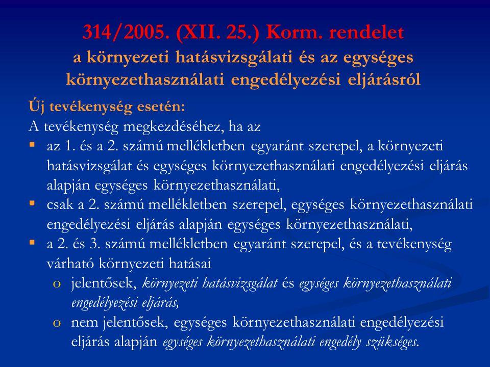 314/2005. (XII. 25.) Korm. rendelet a környezeti hatásvizsgálati és az egységes környezethasználati engedélyezési eljárásról Új tevékenység esetén: A