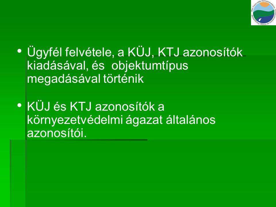 Ügyfél felvétele, a KÜJ, KTJ azonosítók kiadásával, és objektumtípus megadásával történik KÜJ és KTJ azonosítók a környezetvédelmi ágazat általános az