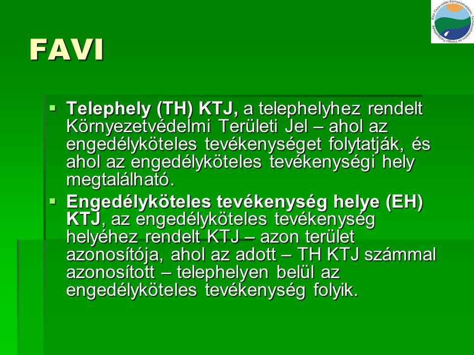 FAVI  Telephely (TH) KTJ, a telephelyhez rendelt Környezetvédelmi Területi Jel – ahol az engedélyköteles tevékenységet folytatják, és ahol az engedél
