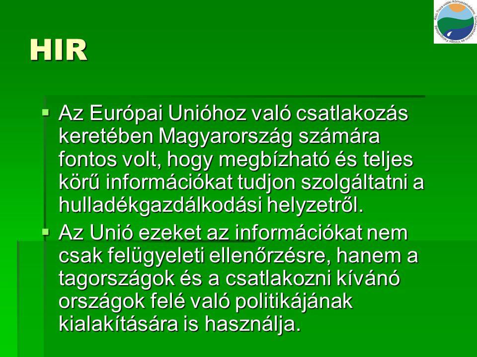 HIR  Az Európai Unióhoz való csatlakozás keretében Magyarország számára fontos volt, hogy megbízható és teljes körű információkat tudjon szolgáltatni