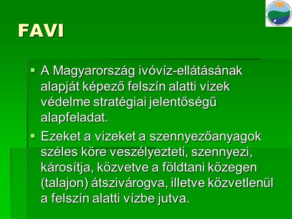 FAVI  A Magyarország ivóvíz-ellátásának alapját képező felszín alatti vizek védelme stratégiai jelentőségű alapfeladat.  Ezeket a vizeket a szennyez