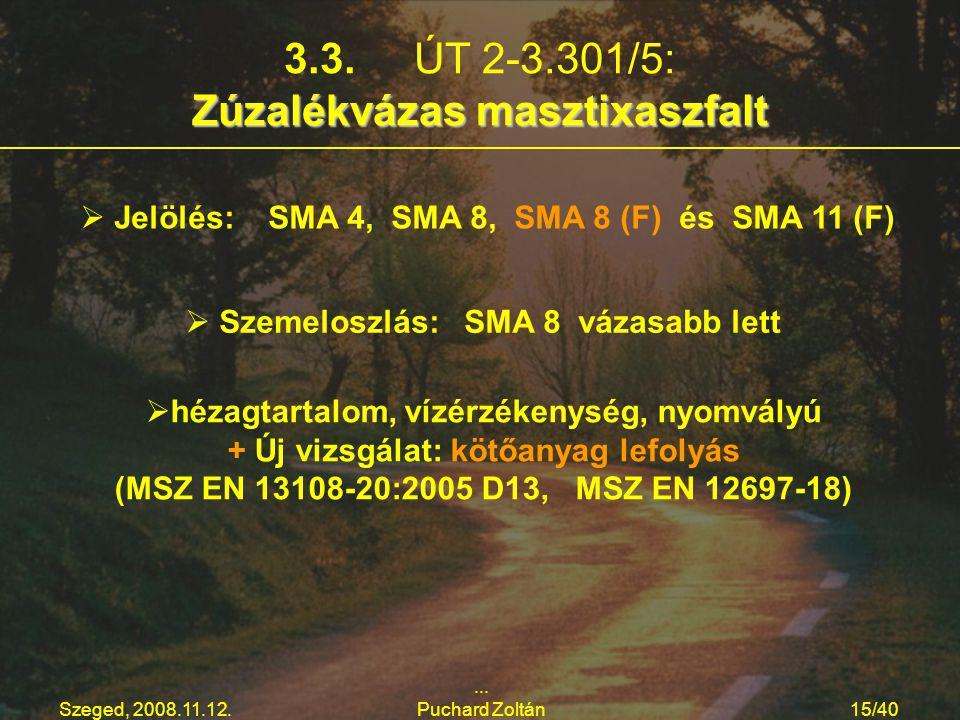 Szeged, 2008.11.12.... Puchard Zoltán15/40 Zúzalékvázas masztixaszfalt 3.3. ÚT 2-3.301/5: Zúzalékvázas masztixaszfalt   Jelölés: SMA 4, SMA 8, SMA 8