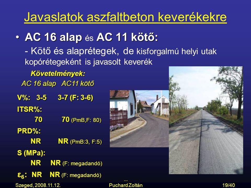 Szeged, 2008.11.12.... Puchard Zoltán19/40 Javaslatok aszfaltbeton keverékekre AC 16 alap AC 11 kötő:AC 16 alap és AC 11 kötő: - Kötő és alaprétegek,