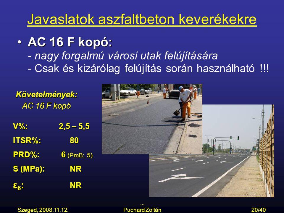 Szeged, 2008.11.12.... Puchard Zoltán20/40 Javaslatok aszfaltbeton keverékekre AC 16 F kopó:AC 16 F kopó: - nagy forgalmú városi utak felújítására - C
