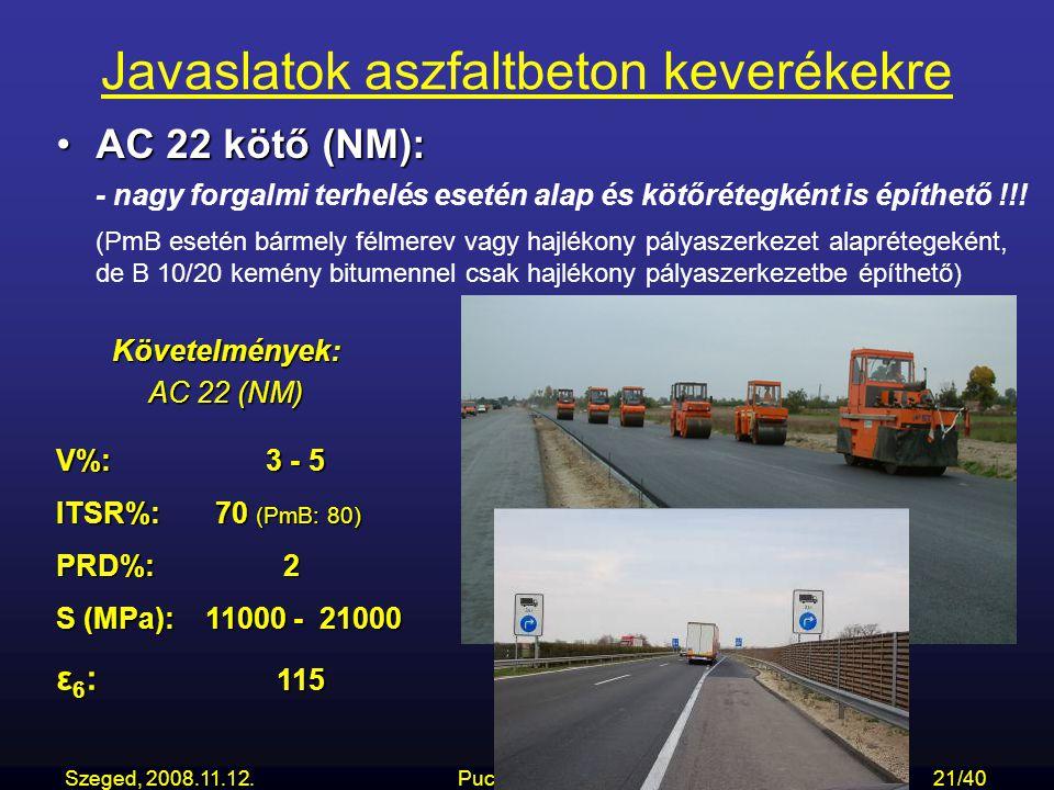 Szeged, 2008.11.12.... Puchard Zoltán21/40 Javaslatok aszfaltbeton keverékekre AC 22 kötő (NM):AC 22 kötő (NM): - nagy forgalmi terhelés esetén alap é