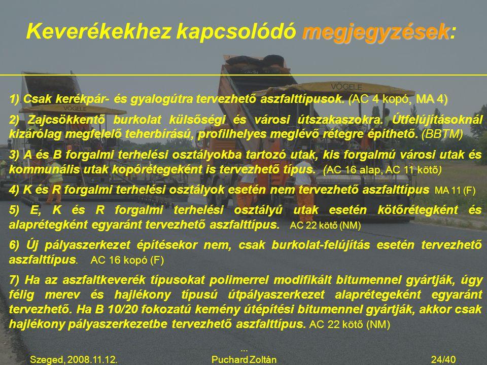 Szeged, 2008.11.12.... Puchard Zoltán24/40, MA 4) 1) Csak kerékpár- és gyalogútra tervezhető aszfalttípusok. (AC 4 kopó, MA 4) 2) Zajcsökkentő burkola