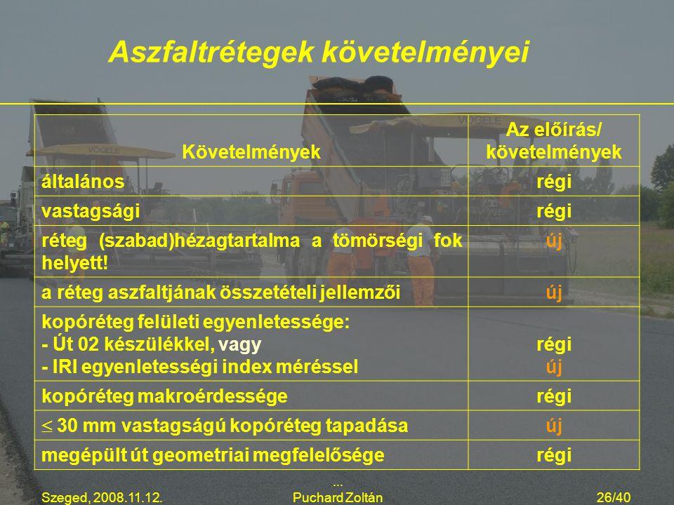 Szeged, 2008.11.12.... Puchard Zoltán26/40 Követelmények Az előírás/ követelmények általánosrégi vastagságirégi réteg (szabad)hézagtartalma a tömörség