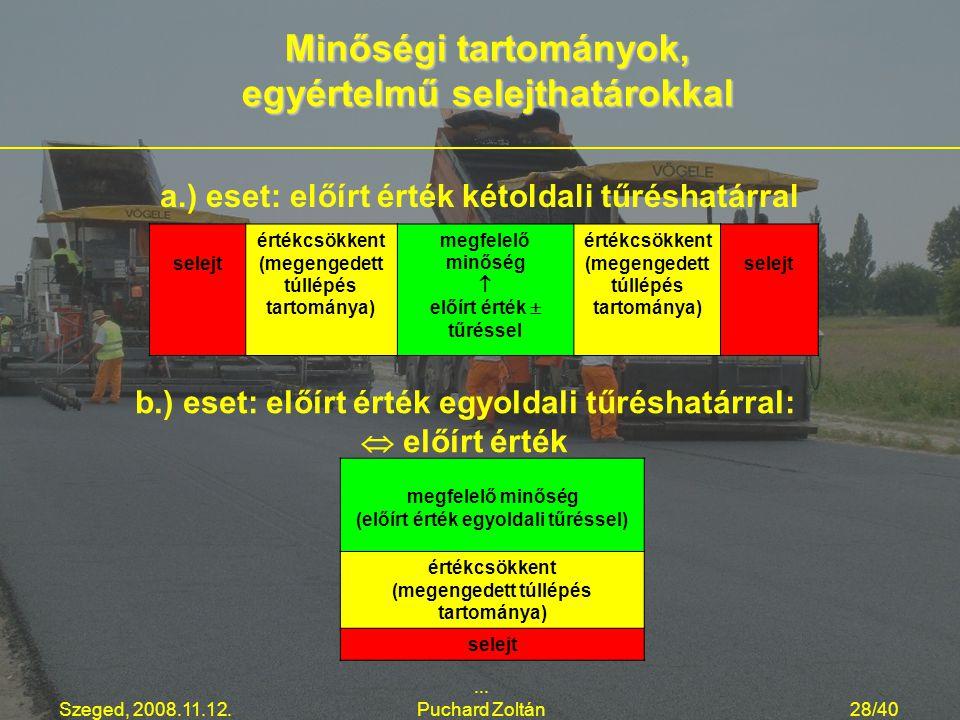 Szeged, 2008.11.12.... Puchard Zoltán28/40 a.) eset: előírt érték kétoldali tűréshatárral Minőségi tartományok, egyértelmű selejthatárokkal selejt ért