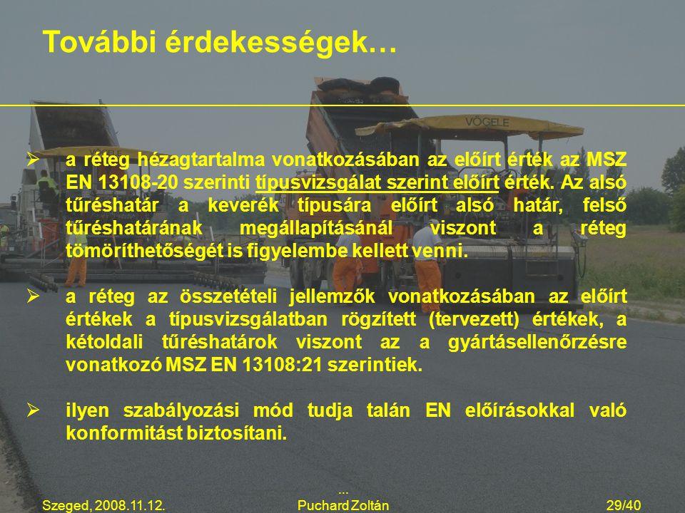 Szeged, 2008.11.12.... Puchard Zoltán29/40   a réteg hézagtartalma vonatkozásában az előírt érték az MSZ EN 13108-20 szerinti típusvizsgálat szerint