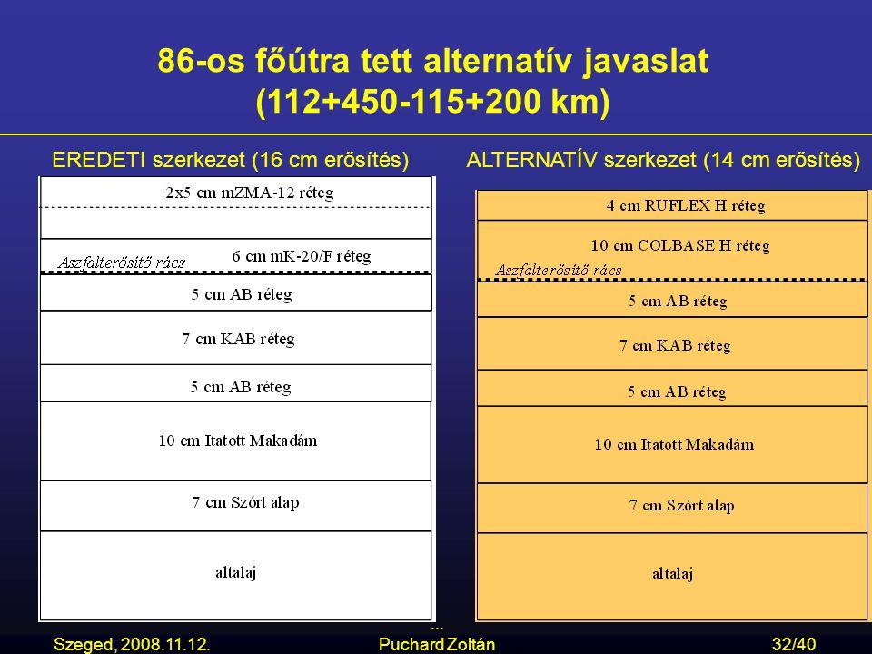 Szeged, 2008.11.12.... Puchard Zoltán32/40 86-os főútra tett alternatív javaslat (112+450-115+200 km) EREDETI szerkezet (16 cm erősítés)ALTERNATÍV sze