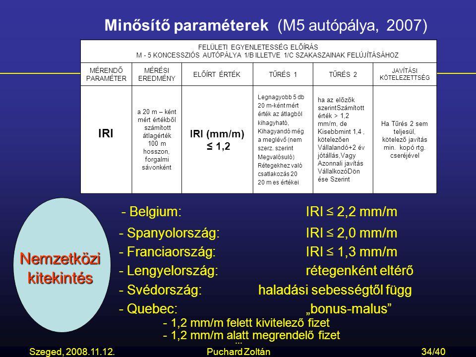 Szeged, 2008.11.12.... Puchard Zoltán34/40 Minősítő paraméterek (M5 autópálya, 2007) FELÜLETI EGYENLETESSÉG ELŐÍRÁS M - 5 KONCESSZIÓS AUTÓPÁLYA 1/B IL
