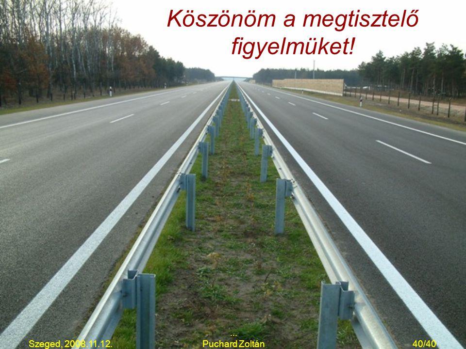 Szeged, 2008.11.12.... Puchard Zoltán40/40 Köszönöm a megtisztelő figyelmüket!