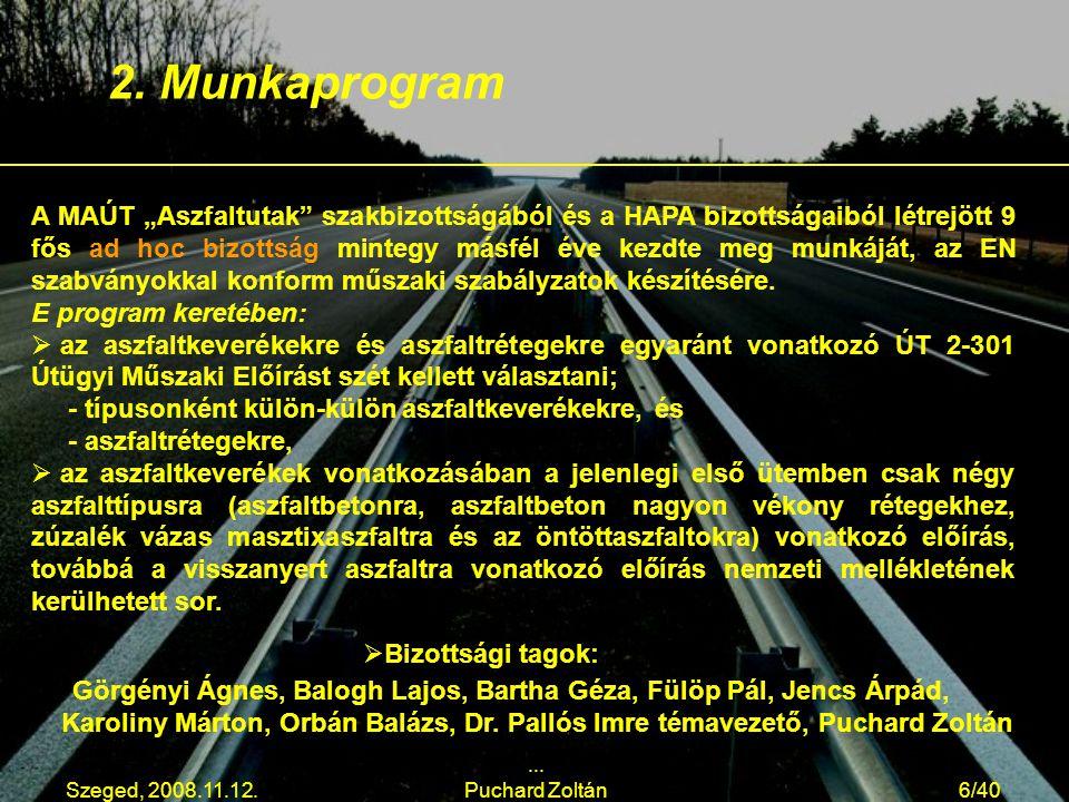 """Szeged, 2008.11.12.... Puchard Zoltán6/40 A MAÚT """"Aszfaltutak"""" szakbizottságából és a HAPA bizottságaiból létrejött 9 fős ad hoc bizottság mintegy más"""