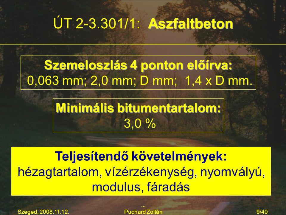 Szeged, 2008.11.12.... Puchard Zoltán9/40 Aszfaltbeton ÚT 2-3.301/1: Aszfaltbeton Szemeloszlás 4 ponton előírva: 0,063 mm; 2,0 mm; D mm; 1,4 x D mm. M