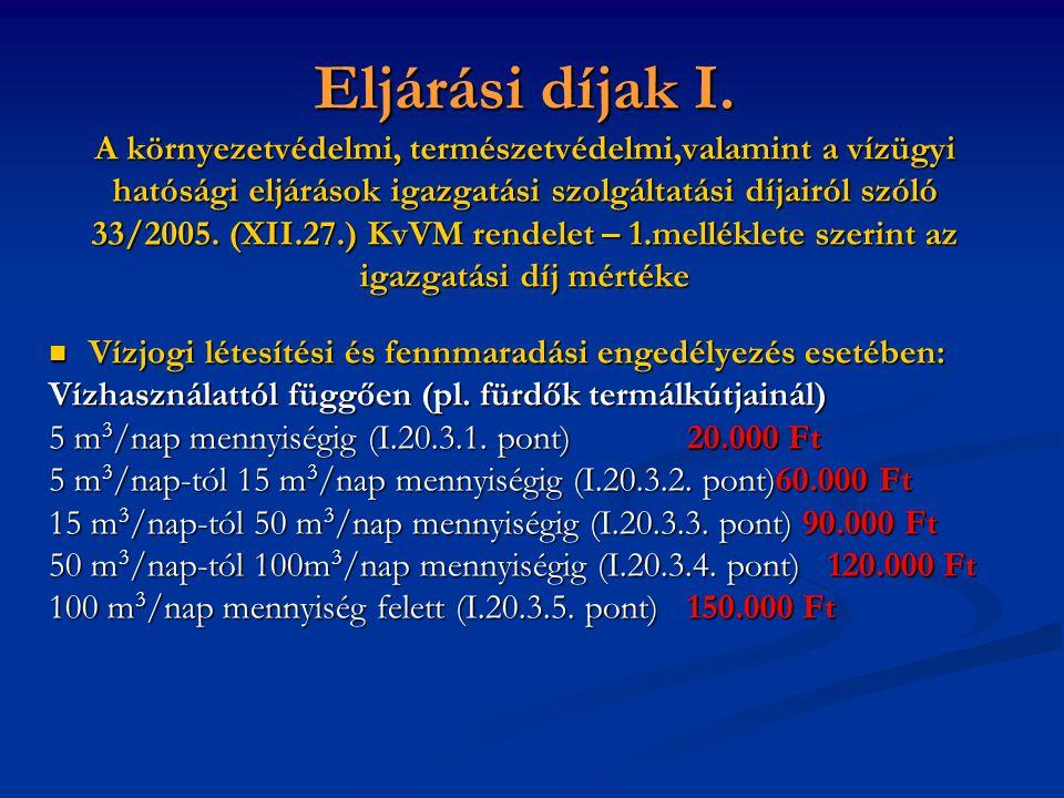 Eljárási díjak I.