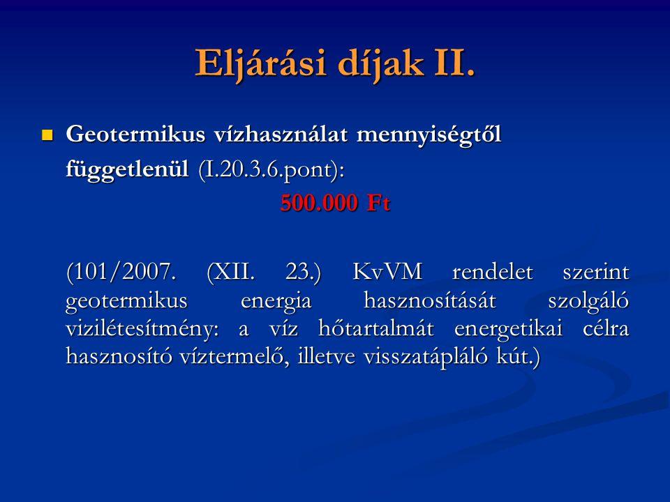 Eljárási díjak II.