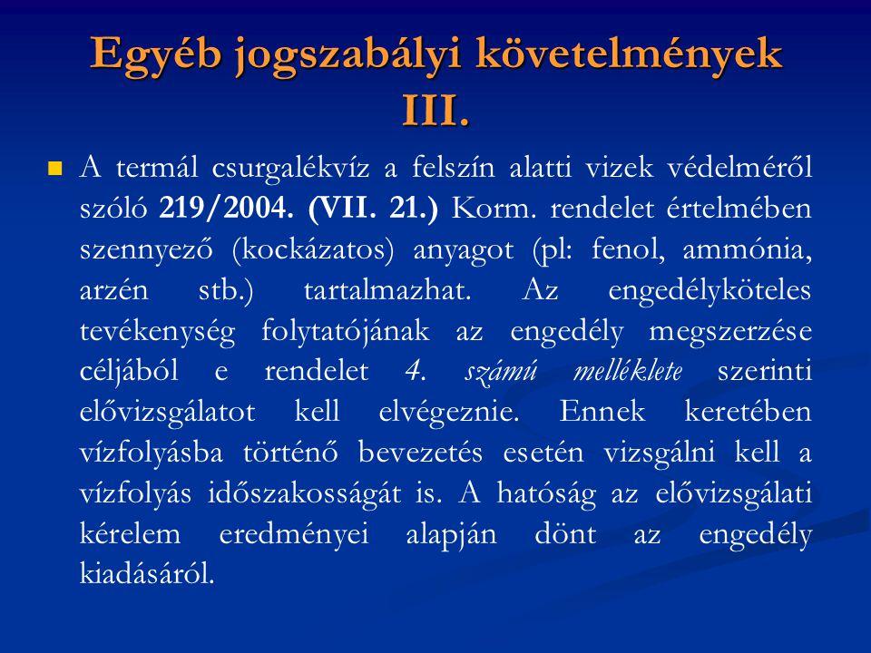 A termál csurgalékvíz a felszín alatti vizek védelméről szóló 219/2004.