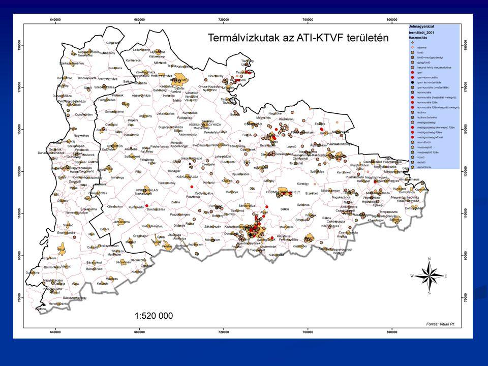 Az ATIKTVF területén lévő hévízkutak talphőmérséklete