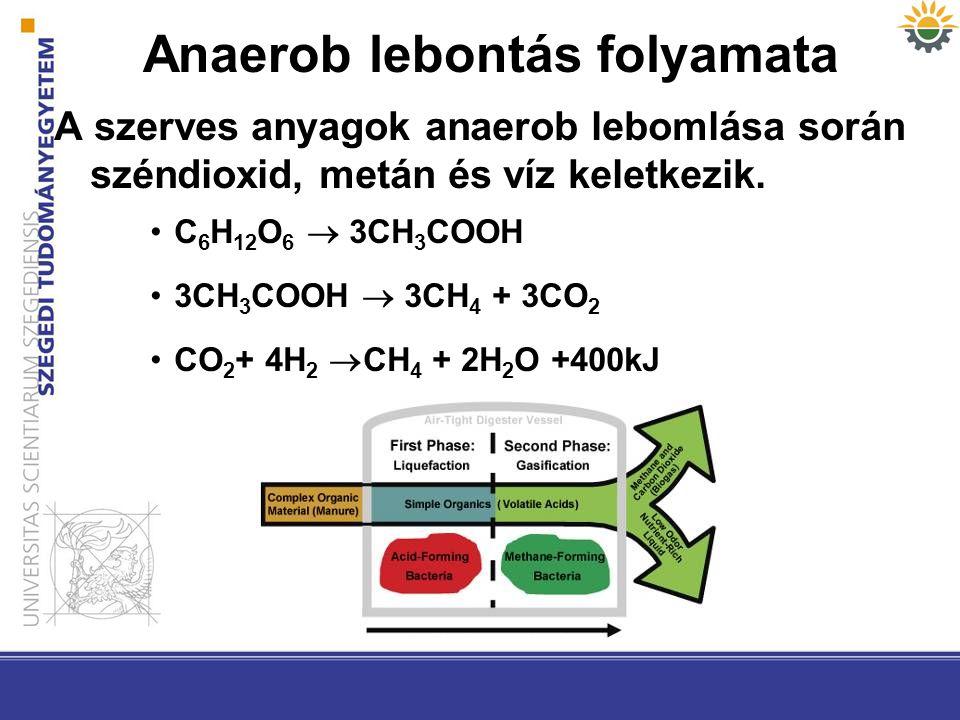 Anaerob lebontás folyamata A szerves anyagok anaerob lebomlása során széndioxid, metán és víz keletkezik. C 6 H 12 O 6  3CH 3 COOH 3CH 3 COOH  3CH 4