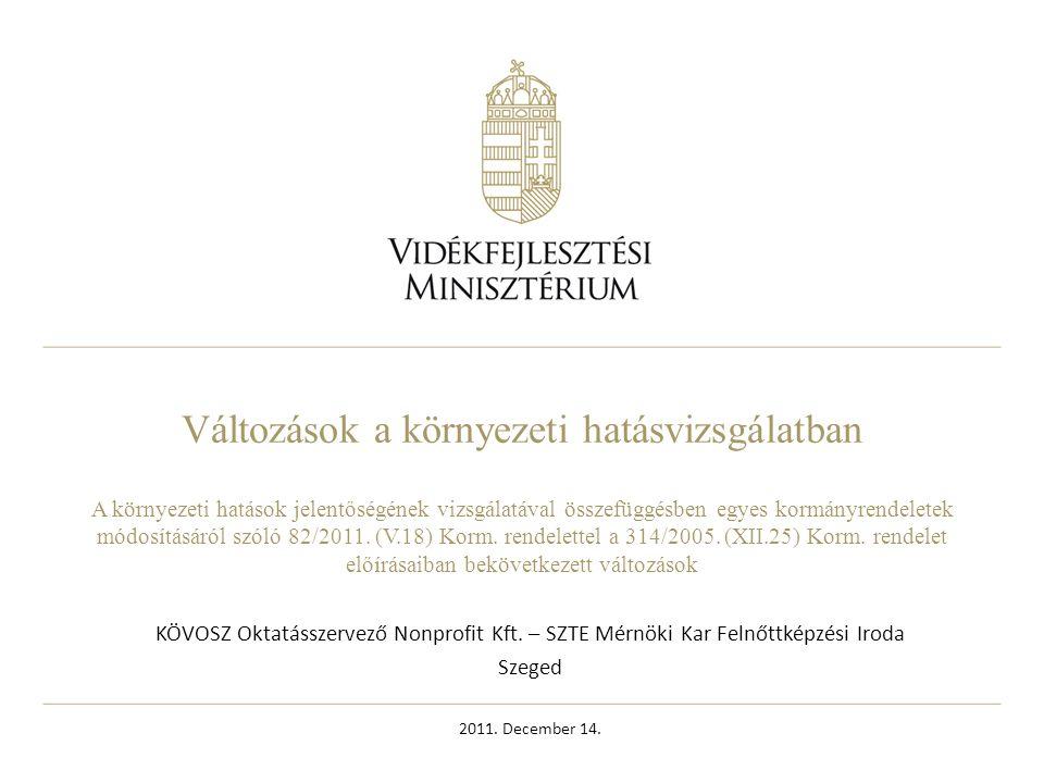 2 Tartalom A környezeti hatásvizsgálati szabályozás alapjai, jogszabályi háttere, korábbi változások A jogszabály módosításának szükségessége, érintett eljárások, jellemzőik Problémás területek, megoldási javaslatok A magyar hatásvizsgálati rendszer új eleme, a szakhatósági eljárás bemutatása
