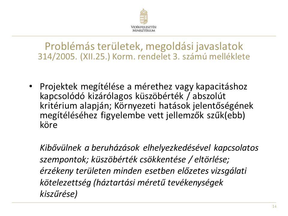 14 Problémás területek, megoldási javaslatok 314/2005. (XII.25.) Korm. rendelet 3. számú melléklete Projektek megítélése a mérethez vagy kapacitáshoz