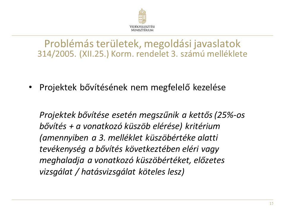 15 Problémás területek, megoldási javaslatok 314/2005. (XII.25.) Korm. rendelet 3. számú melléklete Projektek bővítésének nem megfelelő kezelése Proje