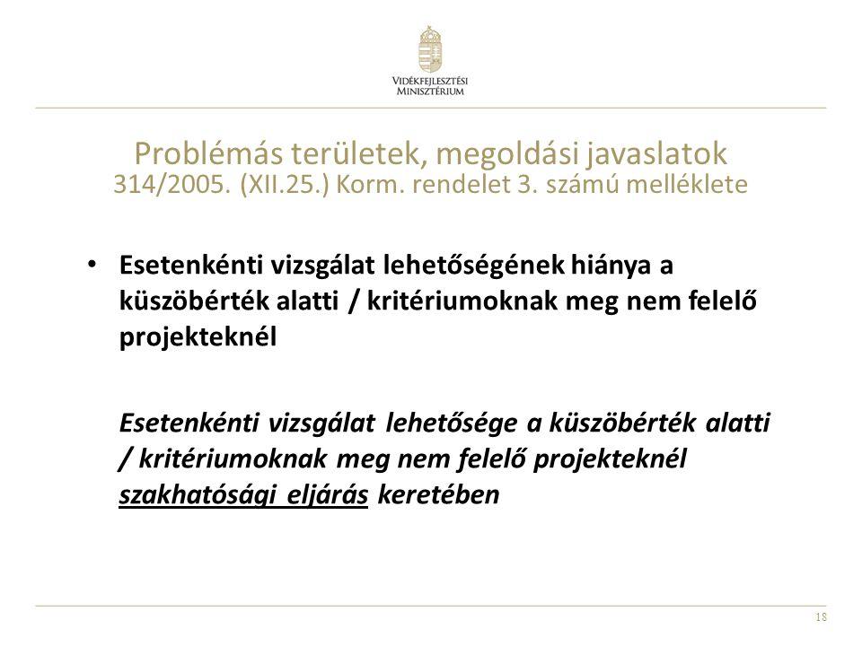 18 Problémás területek, megoldási javaslatok 314/2005. (XII.25.) Korm. rendelet 3. számú melléklete Esetenkénti vizsgálat lehetőségének hiánya a küszö