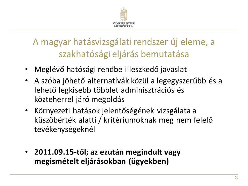 20 A magyar hatásvizsgálati rendszer új eleme, a szakhatósági eljárás bemutatása Meglévő hatósági rendbe illeszkedő javaslat A szóba jöhető alternatív