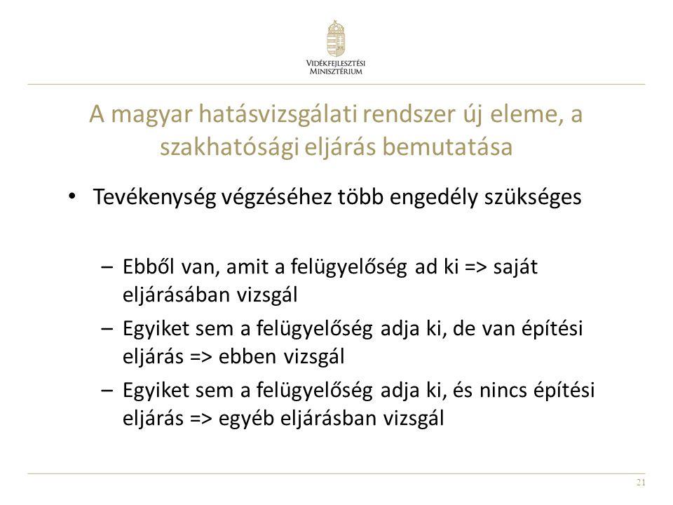 21 A magyar hatásvizsgálati rendszer új eleme, a szakhatósági eljárás bemutatása Tevékenység végzéséhez több engedély szükséges –Ebből van, amit a fel