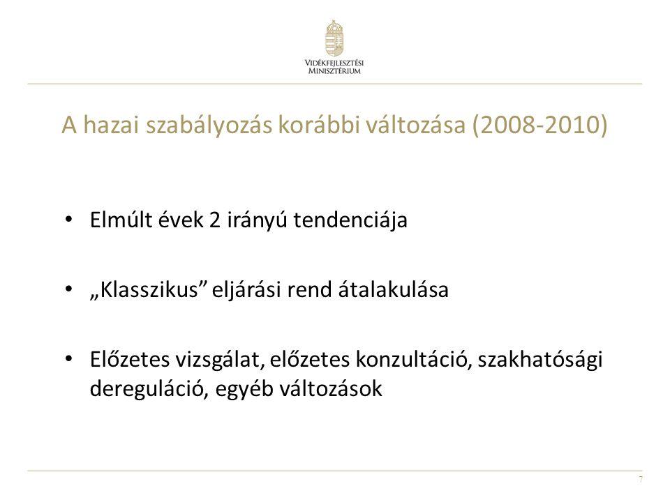 """7 A hazai szabályozás korábbi változása (2008-2010) Elmúlt évek 2 irányú tendenciája """"Klasszikus"""" eljárási rend átalakulása Előzetes vizsgálat, előzet"""