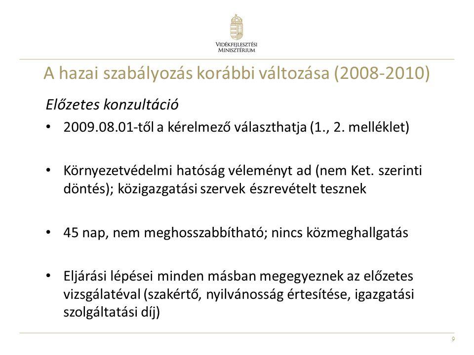 9 A hazai szabályozás korábbi változása (2008-2010) Előzetes konzultáció 2009.08.01-től a kérelmező választhatja (1., 2. melléklet) Környezetvédelmi h