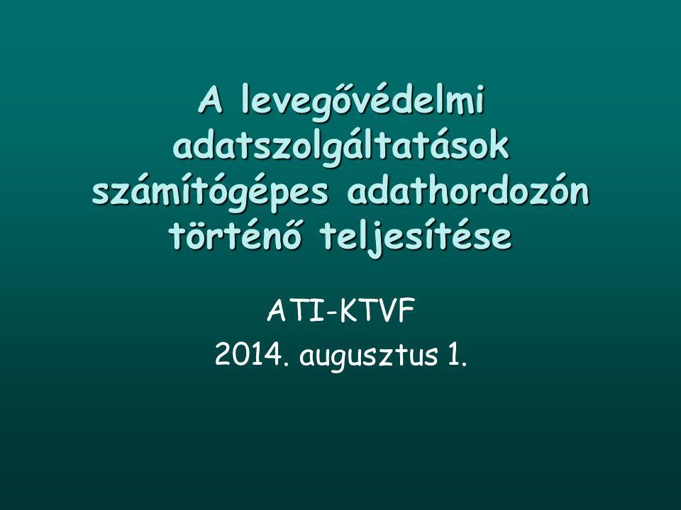 A levegővédelmi adatszolgáltatások számítógépes adathordozón történő teljesítése ATI-KTVF 2014. augusztus 1.