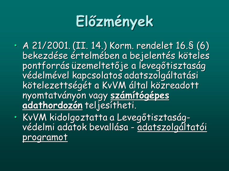 Előzmények A 21/2001. (II. 14.) Korm. rendelet 16.§ (6) bekezdése értelmében a bejelentés köteles pontforrás üzemeltetője a levegőtisztaság védelmével