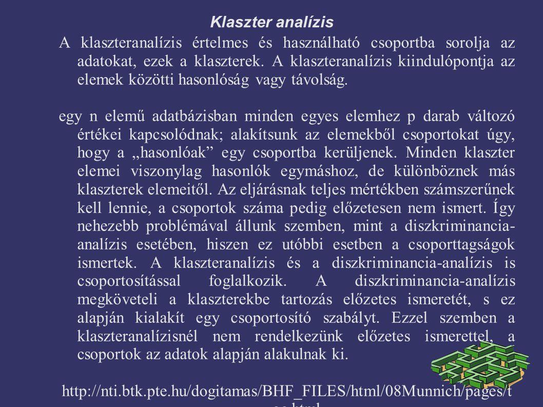 Klaszter analízis A klaszteranalízis értelmes és használható csoportba sorolja az adatokat, ezek a klaszterek. A klaszteranalízis kiindulópontja az el