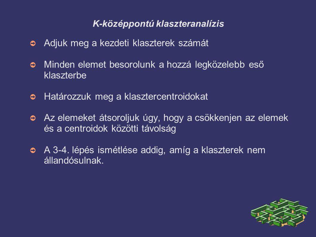 K-középpontú klaszteranalízis ➲ Adjuk meg a kezdeti klaszterek számát ➲ Minden elemet besorolunk a hozzá legközelebb eső klaszterbe ➲ Határozzuk meg a