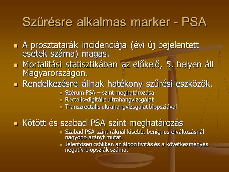 Szűrésre alkalmas marker - PSA A prosztatarák incidenciája (évi új bejelentett esetek száma) magas. A prosztatarák incidenciája (évi új bejelentett es
