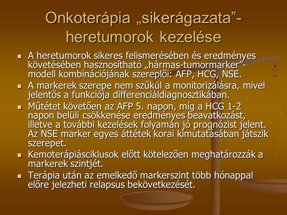 """Onkoterápia """"sikerágazata""""- heretumorok kezelése A heretumorok sikeres felismerésében és eredményes követésében hasznosítható """"hármas-tumormarker""""- mo"""