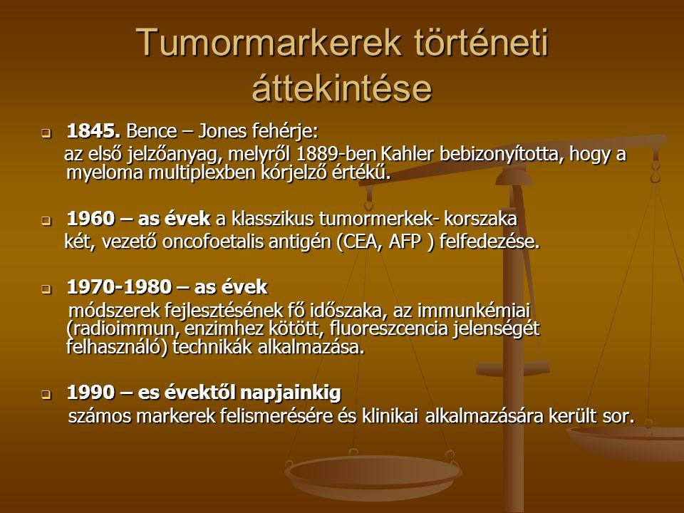 A tumormarkerek csoportosítása - a kimutatás helye szerint - Celluláris – daganatszövetből Celluláris – daganatszövetből P53, uPA, hormonreceptorok P53, uPA, hormonreceptorok Extracelluláris – keringő tumormarkerek Extracelluláris – keringő tumormarkerek Klinikai alkalmazásuk nagyban növelte a rosszindulatú daganatok felismerésének és gyógykezelésének hatékonyságát.