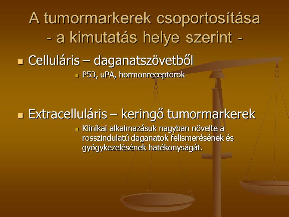 A tumormarkerek csoportosítása - a kimutatás helye szerint - Celluláris – daganatszövetből Celluláris – daganatszövetből P53, uPA, hormonreceptorok P5