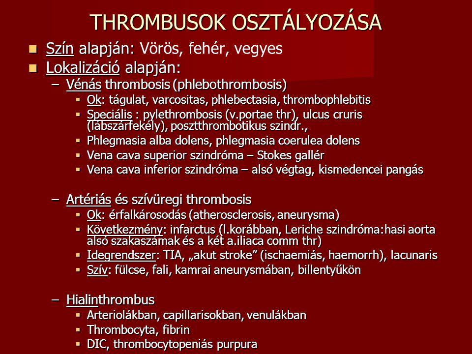 THROMBUSOK OSZTÁLYOZÁSA Szín alapján: Szín alapján: Vörös, fehér, vegyes Lokalizáció alapján: Lokalizáció alapján: –Vénás thrombosis (phlebothrombosis