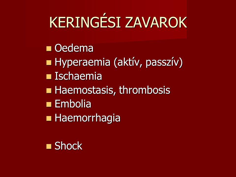 KERINGÉSI ZAVAROK Oedema Oedema Hyperaemia (aktív, passzív) Hyperaemia (aktív, passzív) Ischaemia Ischaemia Haemostasis, thrombosis Haemostasis, throm