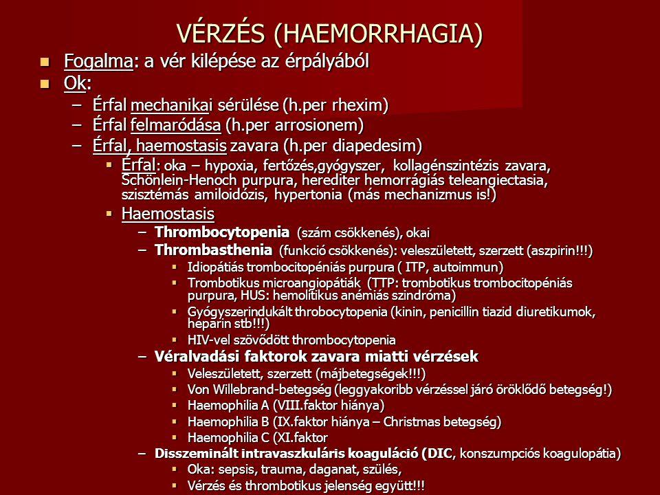 VÉRZÉS (HAEMORRHAGIA) Fogalma: a vér kilépése az érpályából Fogalma: a vér kilépése az érpályából Ok: Ok: –Érfal mechanikai sérülése (h.per rhexim) –É