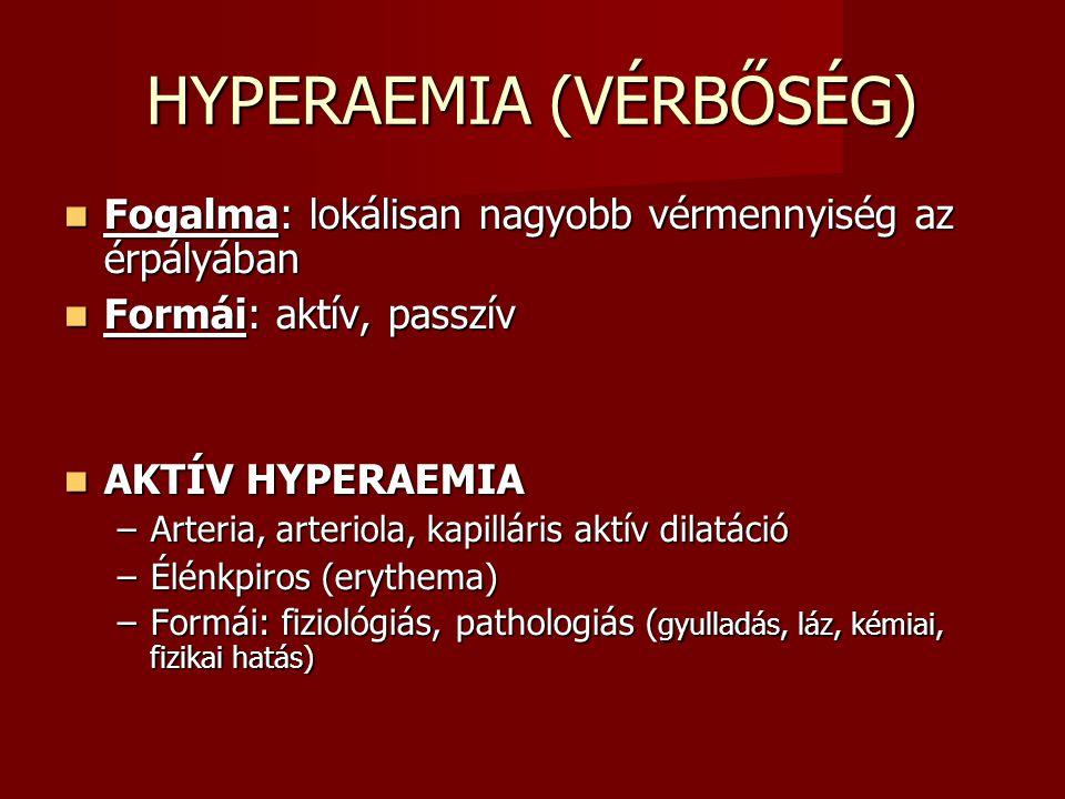 HYPERAEMIA (VÉRBŐSÉG) Fogalma: lokálisan nagyobb vérmennyiség az érpályában Fogalma: lokálisan nagyobb vérmennyiség az érpályában Formái: aktív, passz