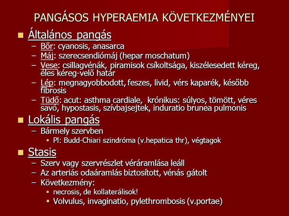 PANGÁSOS HYPERAEMIA KÖVETKEZMÉNYEI Általános pangás Általános pangás –: cyanosis, anasarca –Bőr: cyanosis, anasarca –: szerecsendiómáj (hepar moschatu