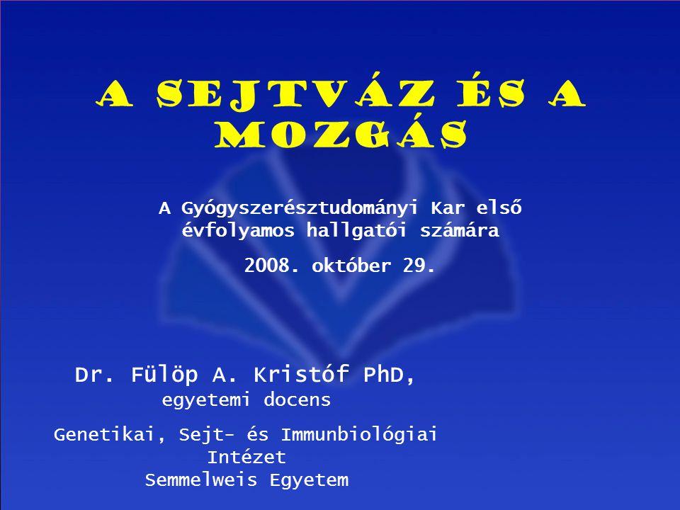 1 A sejtváz és a mozgás A Gyógyszerésztudományi Kar első évfolyamos hallgatói számára 2008. október 29. Dr. Fülöp A. Kristóf PhD, egyetemi docens Gene