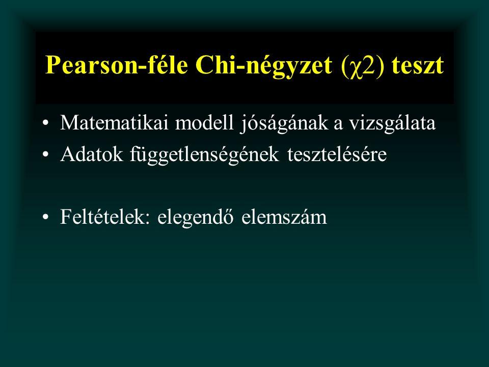Pearson-féle Chi-négyzet (χ2) teszt Matematikai modell jóságának a vizsgálata Adatok függetlenségének tesztelésére Feltételek: elegendő elemszám